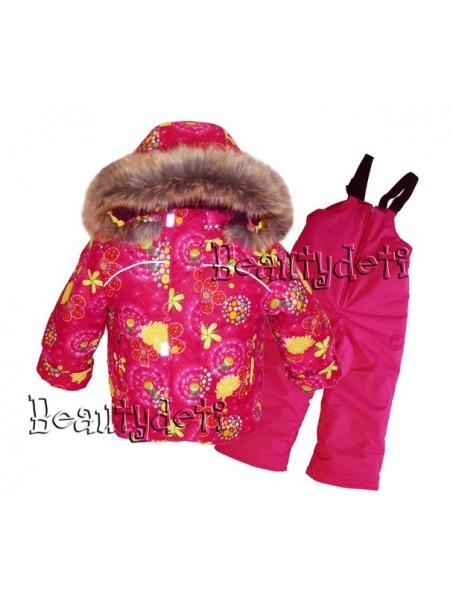 Костюм зимний мембранный цвет: Одуванчики малиновый
