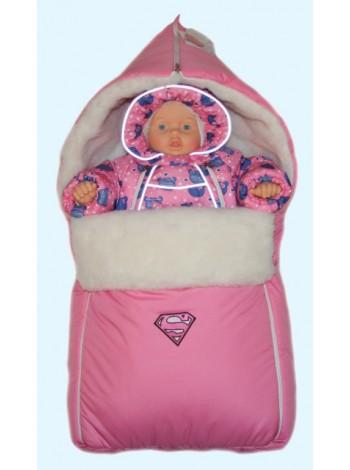 Комбинезон+теплый конверт зимний цвет: Супергерл розовый мишки
