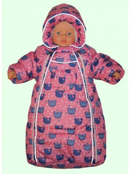 Конверт зимний цвет: Розовый мишки