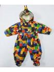 Детский комбинезон-трансформер для новорожденных осень/весна/зима, цвет: пэчворк геометрия