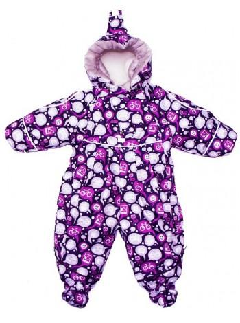 Детский комбинезон-трансформер для новорожденных осень/весна/зима цвет: фиолет лайк