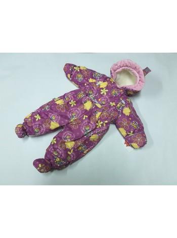 Детский комбинезон-трансформер для новорожденных осень/весна/зима цвет: одуванчики сиренев.