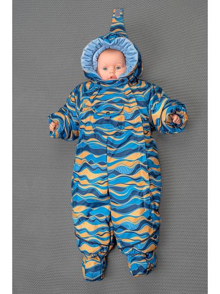 Детский комбинезон-трансформер для новорожденных осень/зима/весна цвет: Оранжевая волна