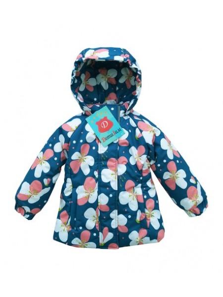 Куртка демисезонная цвет: Цветы морская волна