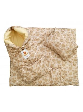 Конверт-одеяло цвет: Принт сердечки бежевый