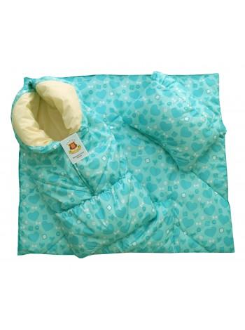 Конверт-одеяло цвет: Принт сердечки ментол