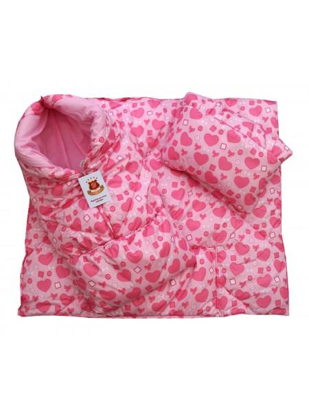 Конверт-одеяло цвет: Принт сердечки розовый