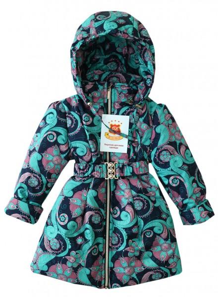 Пальто цвет: Принт т.синий розовые цветы