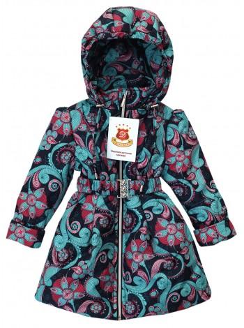 Пальто демисезонное цвет: Принт узоры малина