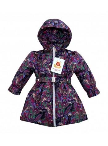 Пальто демисезонное цвет: Принт кукумбер т.баклажан