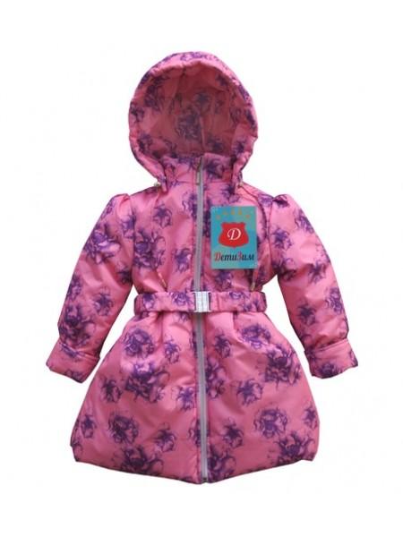 Пальто демисезонное цвет: Цветы розовые