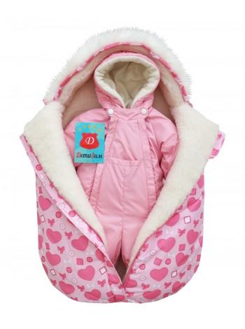 Комплект зимний цвет: Св.розовый/сердечки розовый