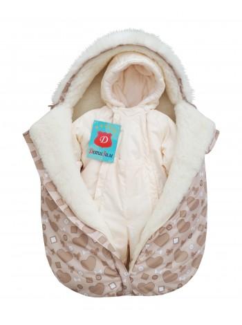 Комплект зимний цвет: Жемчужный/сердечки бежевый