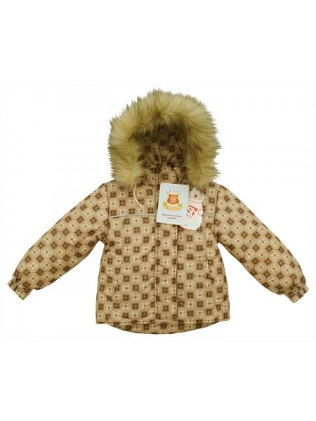 Куртка зимняя цвет: Принт калейдоскоп бежевый
