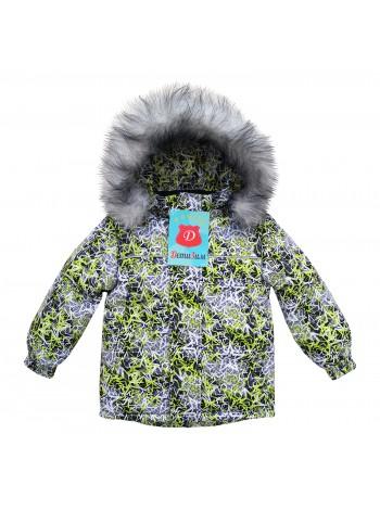 Куртка зимняя мембранная цвет: звезды салатовый