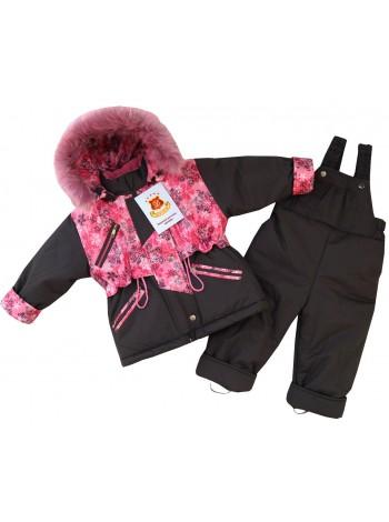 Костюм зимний цвет: т.серый-принт снежинки розовый