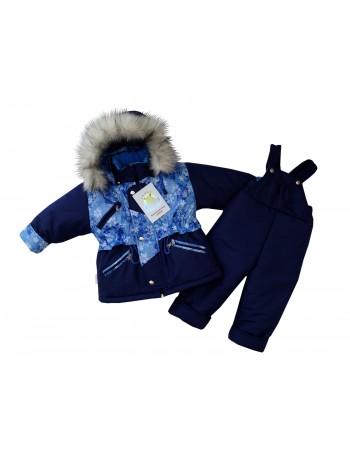 Костюм зимний цвет: т.синий-принт снежинки голубой
