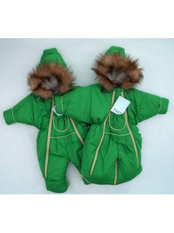 Комбинезон-трансформер зимний цвет: зеленое яблоко кант ваниль