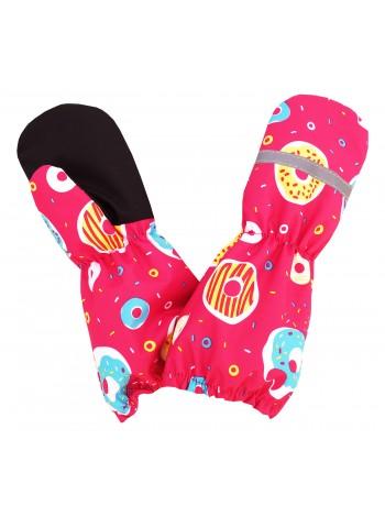 Краги (детские варежки) цвет: Пончики малина