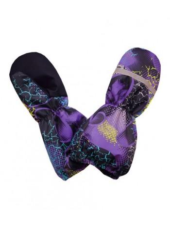 Краги (детские варежки) цвет: Абстракция фиолетовый