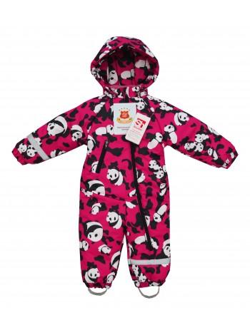 Комбинезон зимний мембранный цвет: Принт панды малина