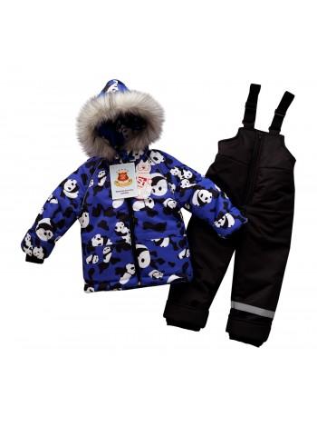 Костюм зимний цвет: Принт панды василек-черный