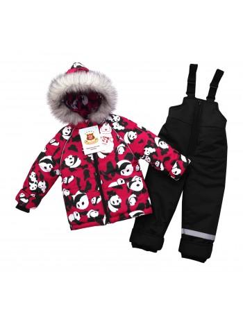 Костюм зимний цвет: Принт панды малина-черный