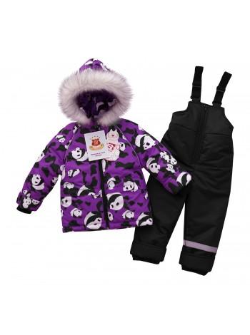 Костюм зимний цвет: Принт панды сирень-черный