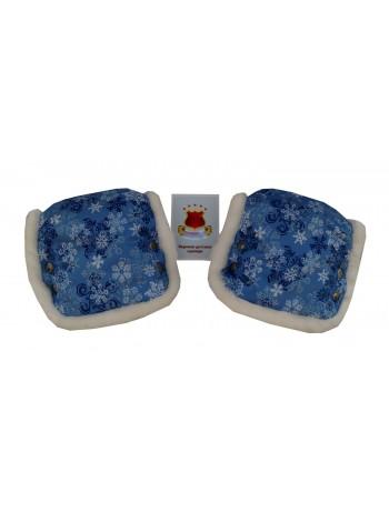 Муфта (пара) цвет: принт снежинки голубой