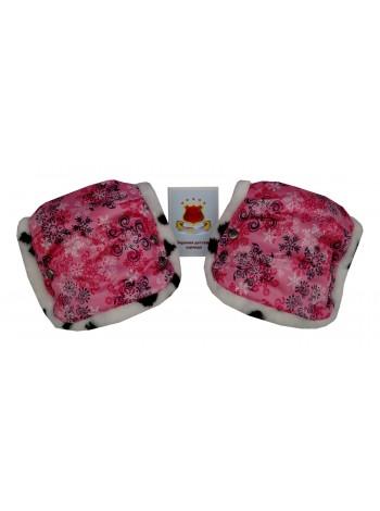 Муфта (пара)  цвет: Принт снежинки розовый (мех далматинец)