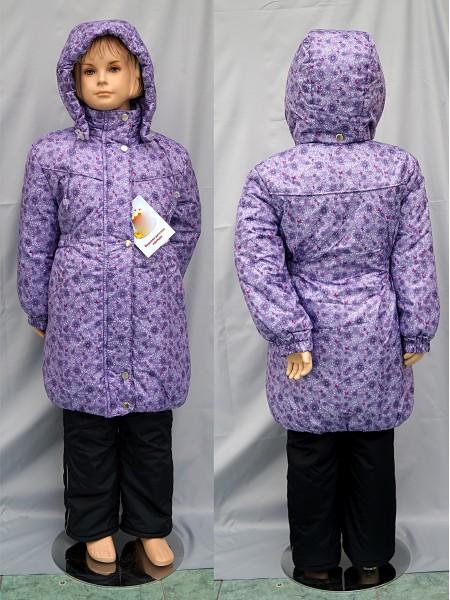 Пальто зимнее цвет: Принт цветы-сирень
