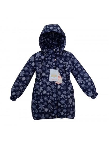 Пальто зимнее цвет: Принт снежинки т.синий