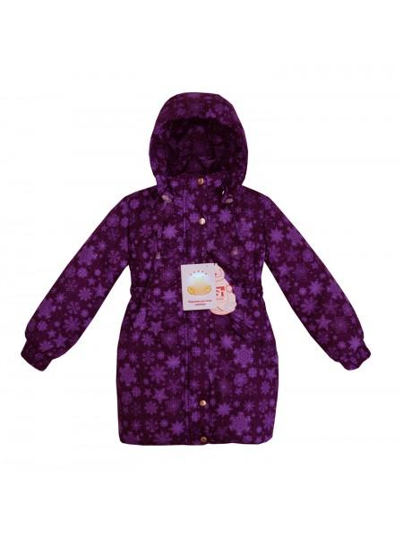 Пальто зимнее цвет: Принт снежинки фиолетовый