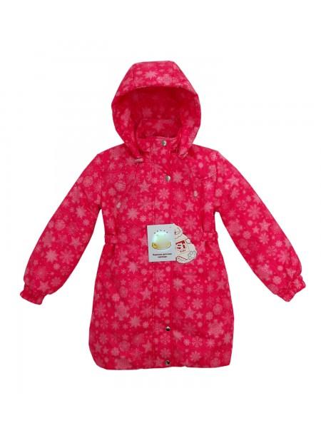 Пальто зимнее цвет: Принт снежинки ярк.розовый