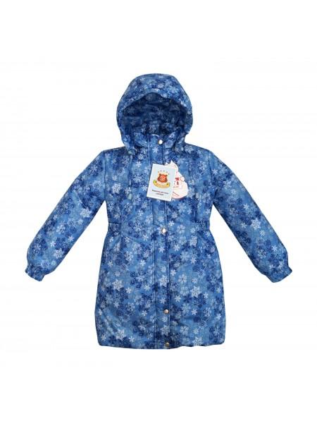 Пальто зимнее цвет: Принт снежинки голубой