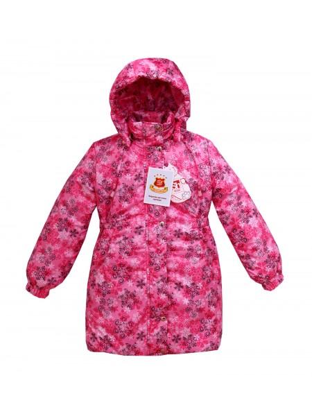 Пальто зимнее цвет: Принт снежинки розовый