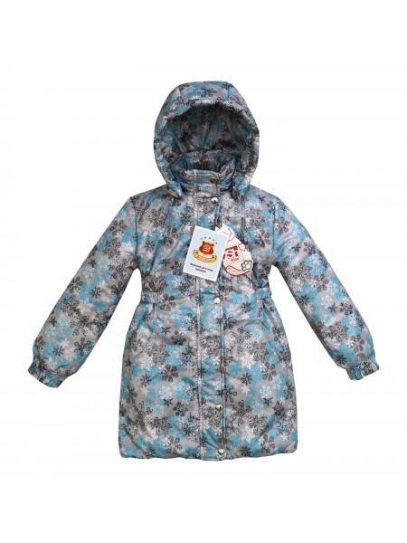 Пальто зимнее цвет: Принт снежинки серый