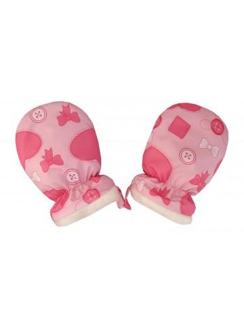 Рукавички (овчина) цвет: Сердечки розовый