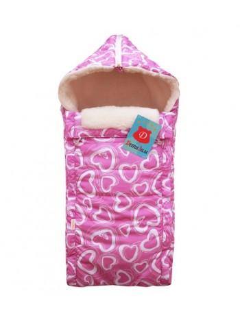 Конверт зимний цвет: Сердечки розовый