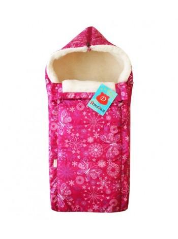 Конверт зимний цвет: Снежинки т.розовый