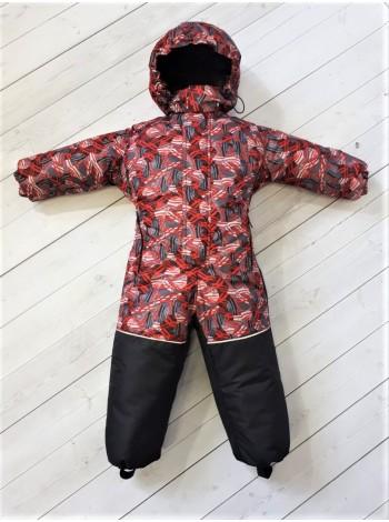 Комбинезон зимний цвет: Красные шары/черный