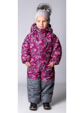Комбинезон зимний цвет: Малина  шары /серый