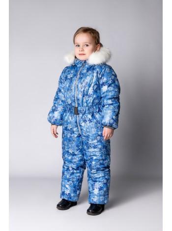 Комбинезон зимний цвет: снежинки голубые