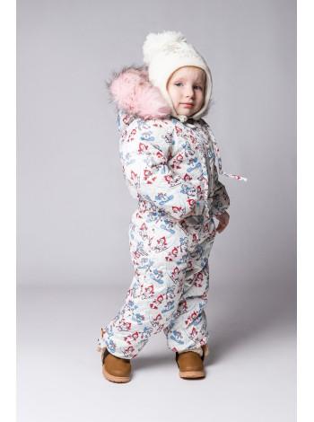 Комбинезон зимний цвет: принт снеговики бордо