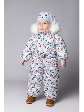 Комбинезон зимний цвет: Снеговики бирюза бордо