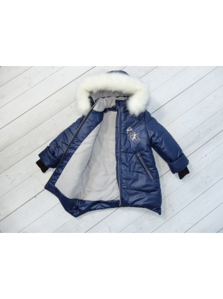 Пальто зимние цвет: Синий/серебро