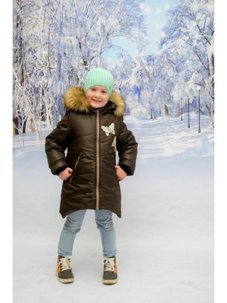 Пальто зимние цвет: Шоколад/св.бежевый