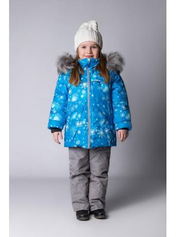 Костюм зимний цвет: Белые снежинки/голубой