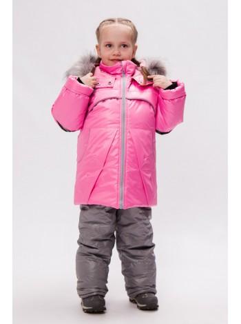 Костюм зимний цвет: Розовый/серый