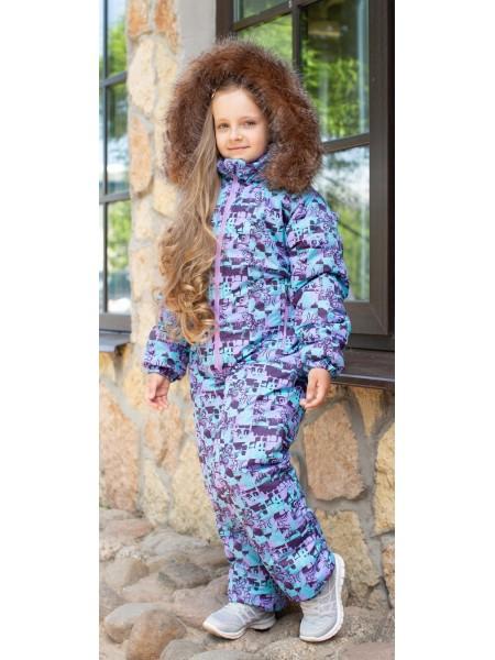 Комбинезон зимний мембранный цвет: фиолетовый узор/мех енот